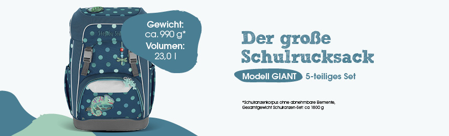Step by Step Giant, Schulranzen, Schultasche, Ranzen, Gewicht, Größe, Volumen, Easy Grow System, Magic Mags, wechselbare Motive, stufenlos mitwachsendes Tragesystem